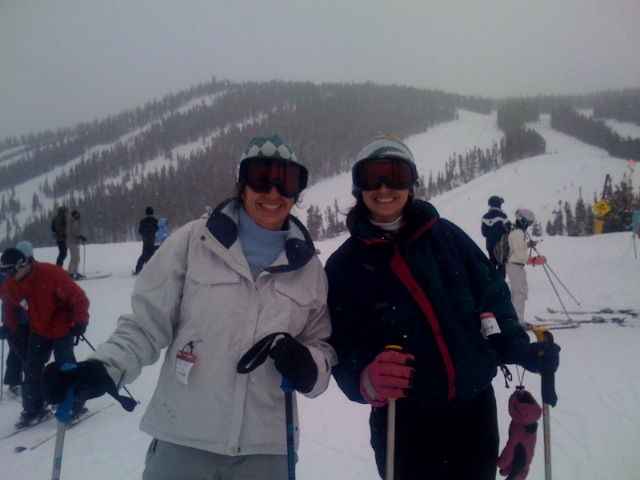 Alex and Maria skiing